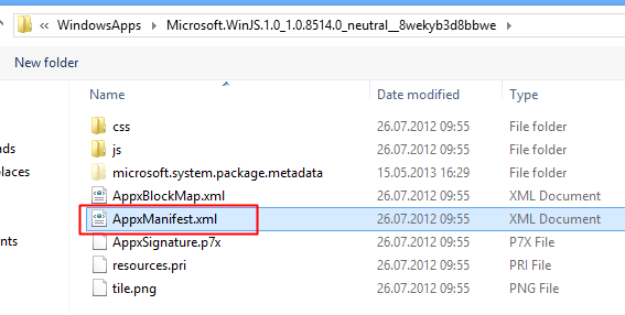 Select %install_path%\AppxManifest.xml