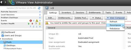 recompose method in the VMware connection server administration console
