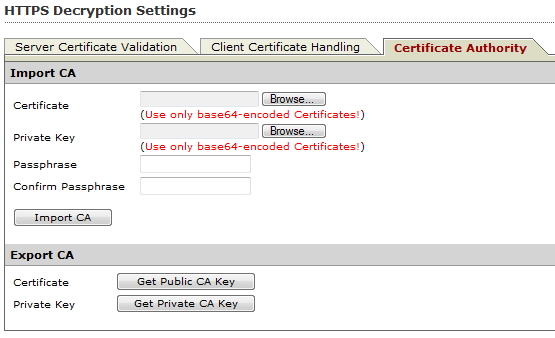 CA private key and self-signed certificate