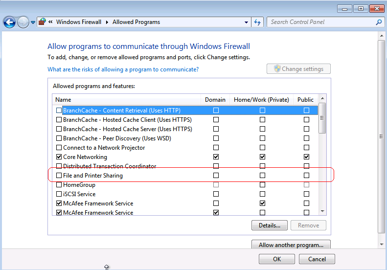Windows Firewall Allowed Programs