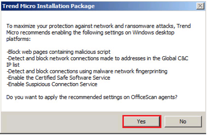 Installation package - Recommended settings