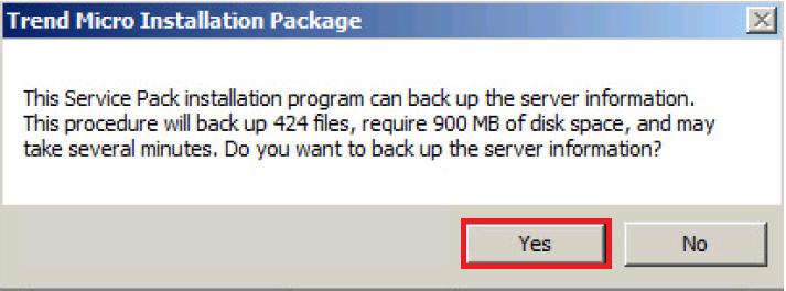 Installation package - Back up server information