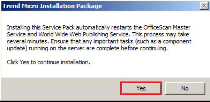 Installation package - Restart master service and WWW