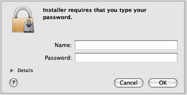 Installer name and password