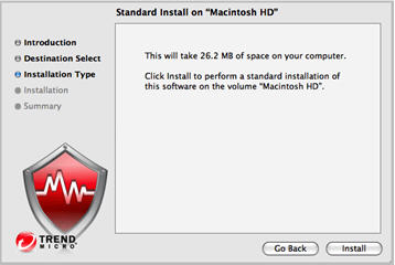 Security installer installation type page