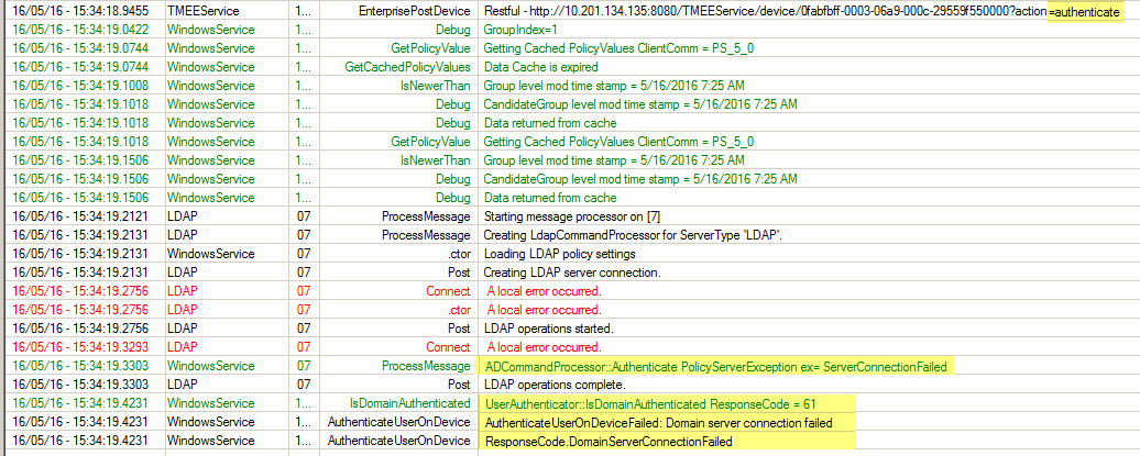 Policy Server is not connecting to LDAP