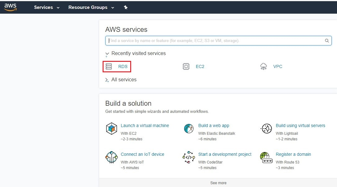 Open AWS console and select RDS