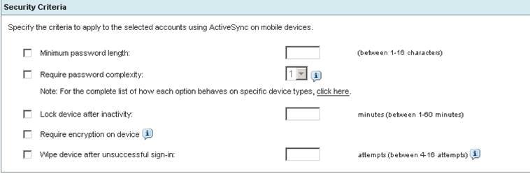 Configure search criteria settings