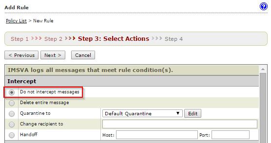 select Do not intercept messages