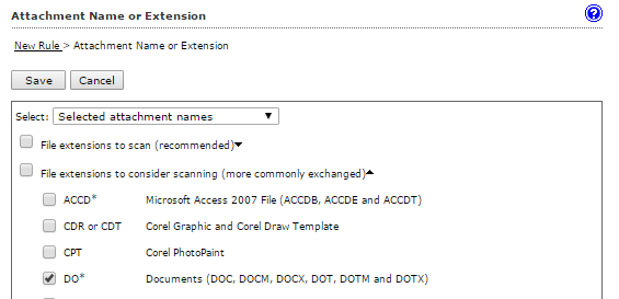 File extensions to consider scanning