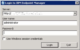 Login to IBM Endpoint Manager console