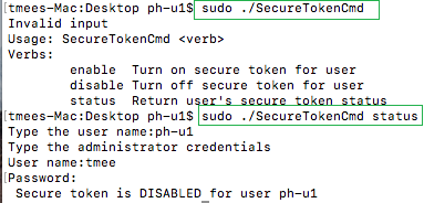 Secure token status for specific user