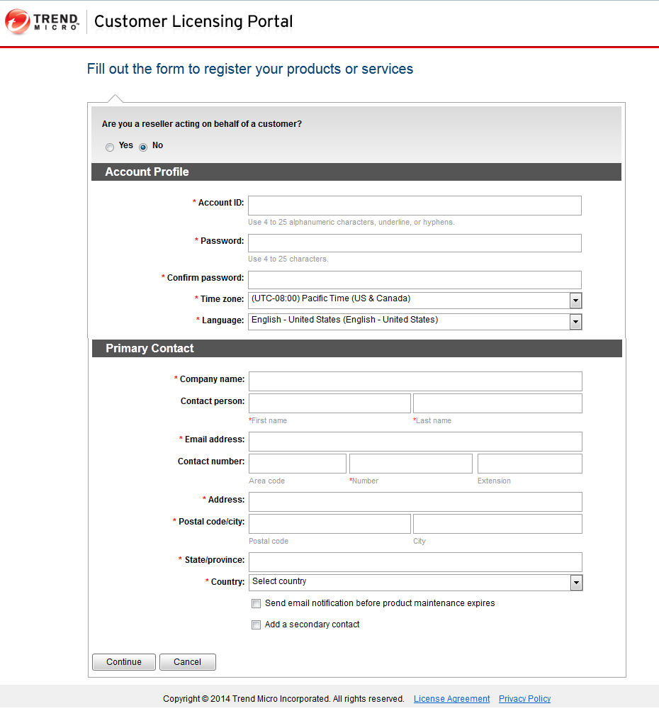 Complete the form to register your products and services.