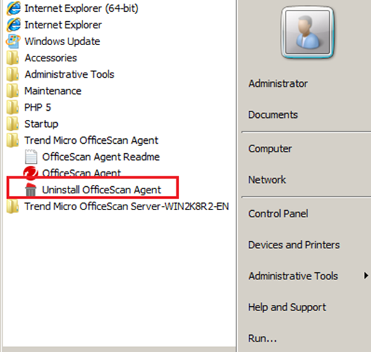 Uninstall OfficeScan Agent