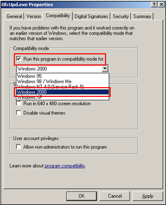 Run this program in compatibility mode