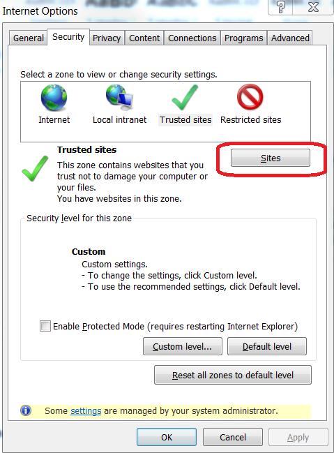 Internet Options-Security tab