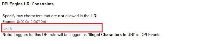 Specify raw characters that are not allowed in the URI