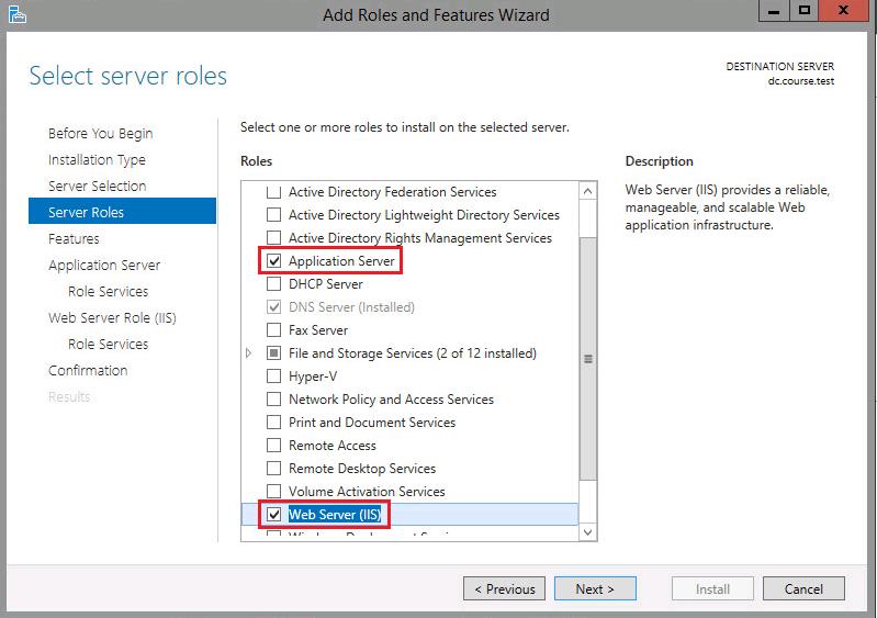 Select Server Roles