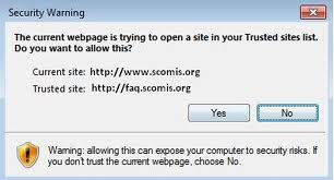 The current webpage is trying to open a site in your Trusted sites list. Do you want to allow this?