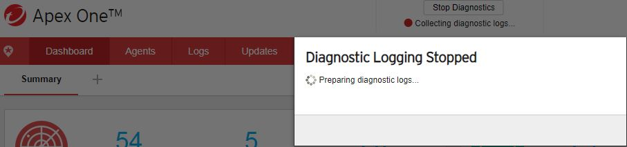 Diagnostic logging stopped