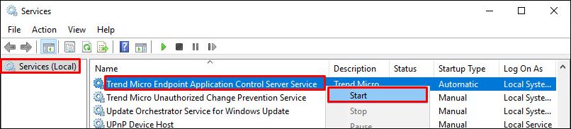 Start TMEAC Server Service