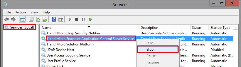 Stop TMEAC Server Service
