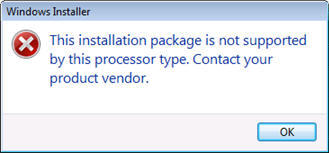 This installation package is not supported by this processor type