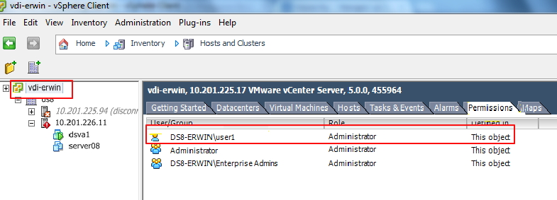 vCenter administrator role in top-level hierarchy