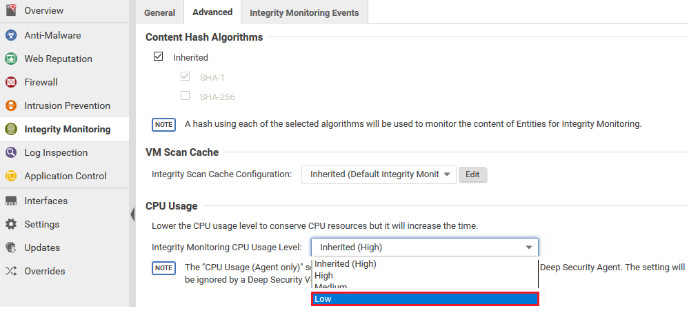 Integrity Monitoring CPU Usage Level