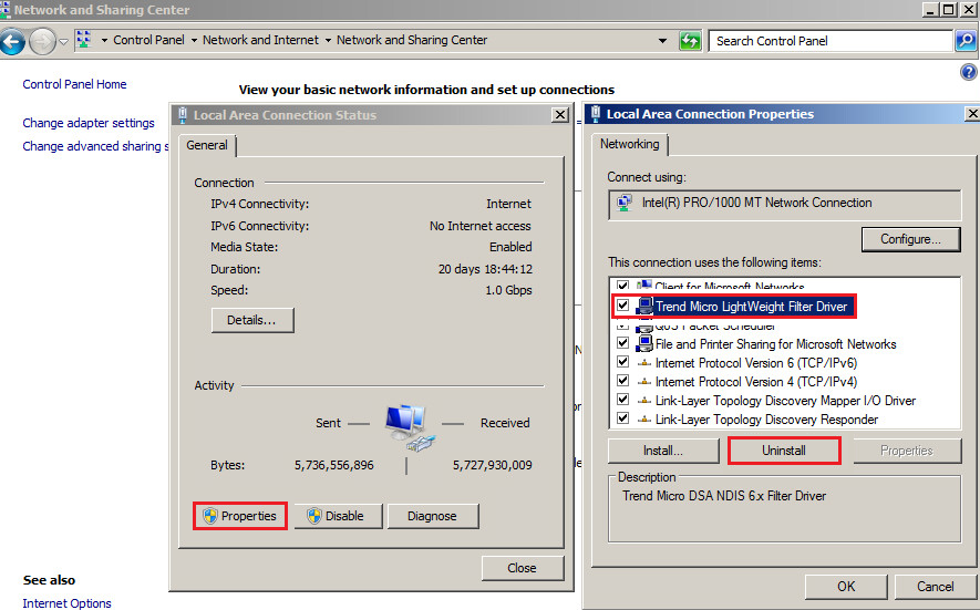 Uninstall Trend Micro LightWeight Filter Driver