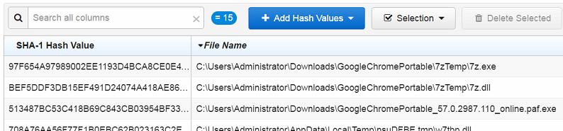import hash list