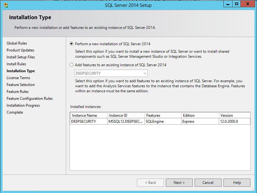Perform a new installation of SQL Server 2014