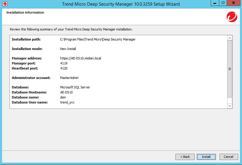 Install the Deep Security Manager