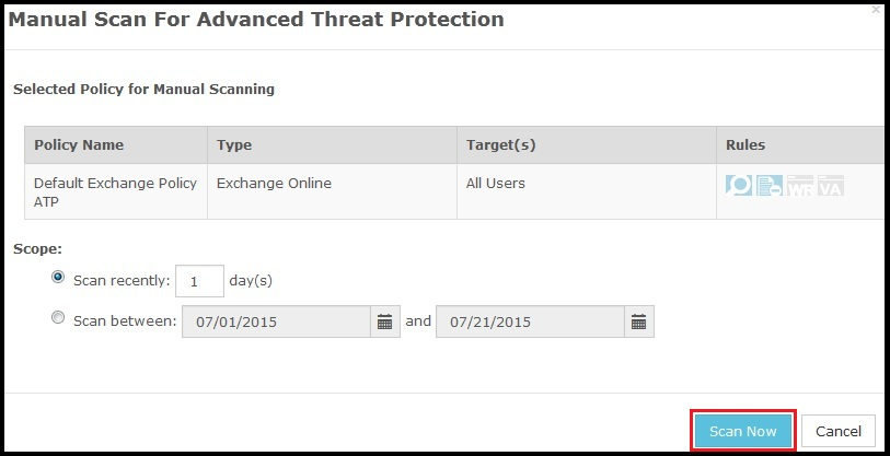 Manual scan for advanced threat protection