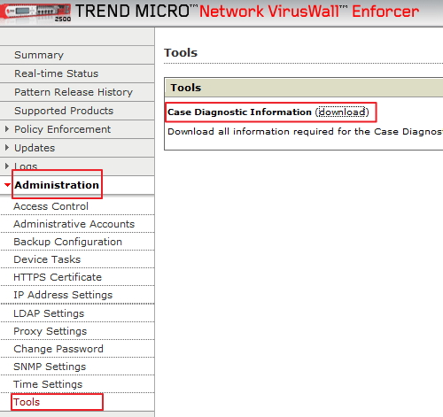 Network VirusWall case diagnostic package