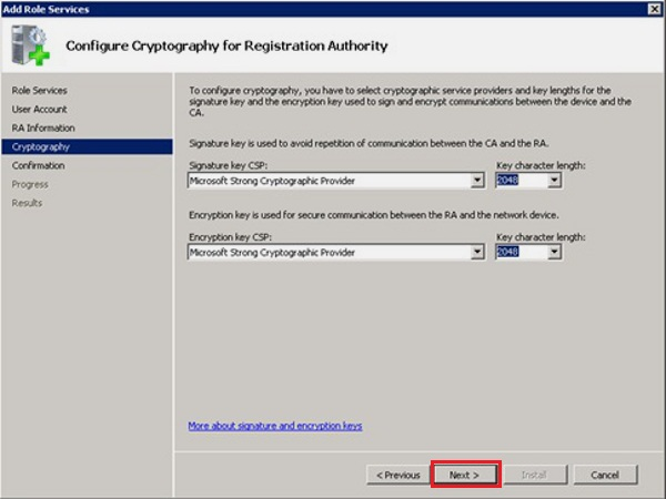 configure cryptography for registration authority