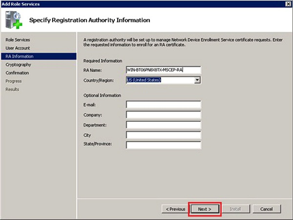 specify registration authority information