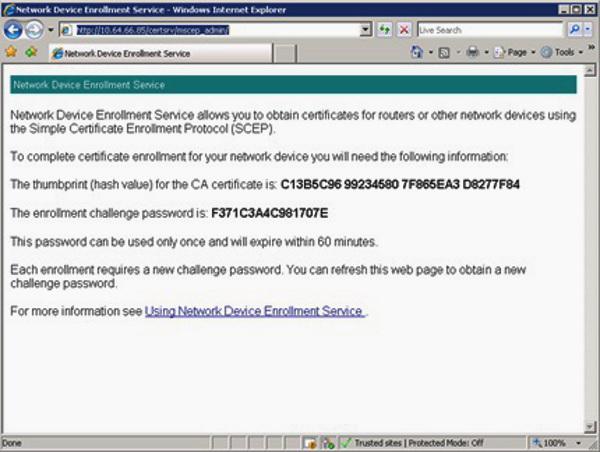 SCEP Server admin page