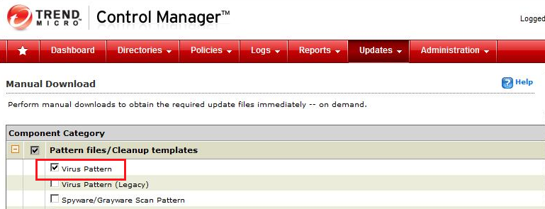 Control Manager Manual Update