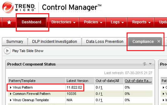 Control Manager dashboard