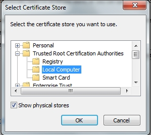 trusted root certificate store on local computer