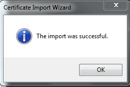 certificate was imported successfully
