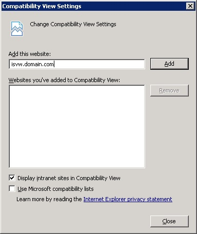 Configure Compatibility View Settings