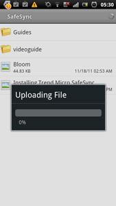 Uploading the file