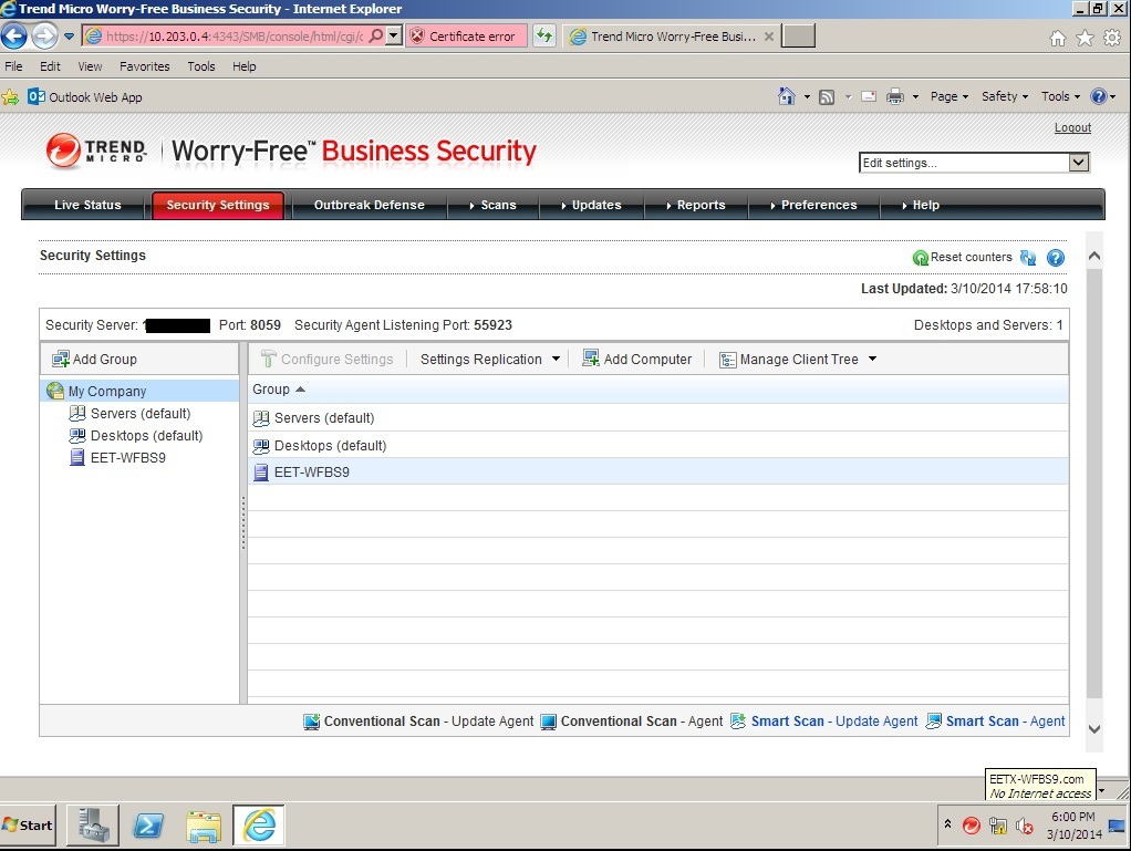 WFBS 9.0 Security Settings