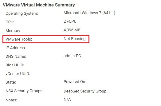 VMware Tools not running