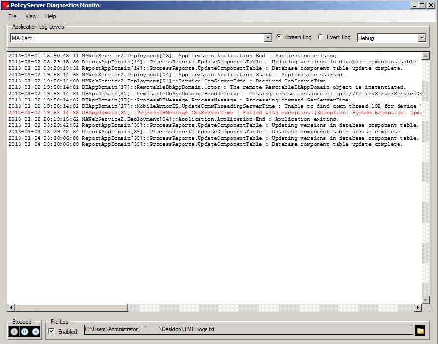 Policy Server Diagnostics Monitor