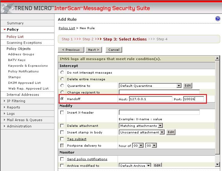 Configure Intercept settings
