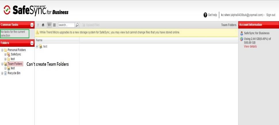 Unable to create Team Folders