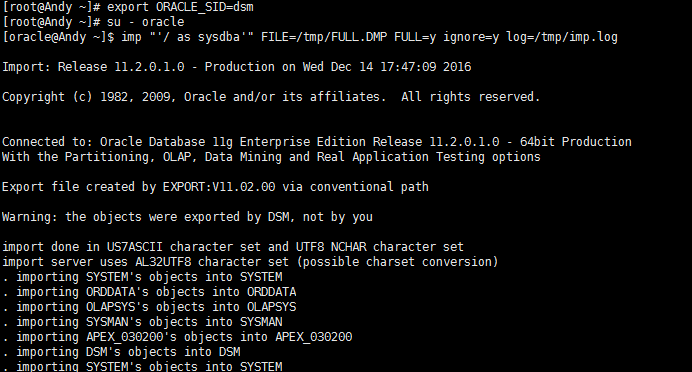 Importing Oracle database